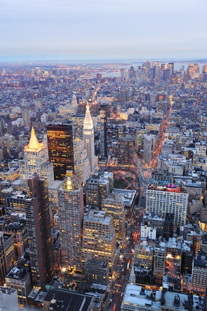 New York City Manhattan downtown aerial view at dusk with urban city skyline and skyscrapers buildings Stock Photo - 9480201