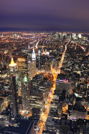 New York City Manhattan aerial view at dusk with urban city skyline and skyscrapers buildings Stock Photo - 9479725