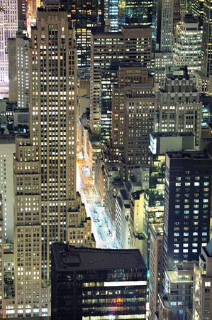New York City Manhattan aerial view at dusk with urban city skyline and skyscrapers buildings photo