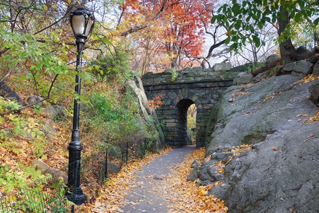 Stone bridge in Autumn in New York City Manhattan Central park. photo