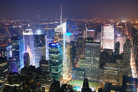 New York City Manhattan Times Square skyline aerial view panorama at night with skyscrapers and street. Stock Photo - 9479482