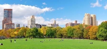 garden city: Panor�mica de horizonte de Manhattan de Nueva York visto desde el Parque Central con cielo nuboso y azul y personas en c�sped.  Foto de archivo