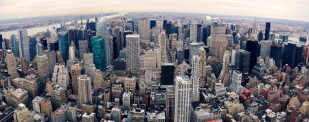 New York City Manhattan panorama aerial view at dusk with urban city skyline and skyscrapers buildings Stock Photo - 9480481