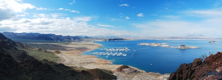 Lake mead panorama on Colorado River. Lake mead is the largest reservoir in the United States.  photo