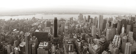 New York City Manhattan skyline aerial view panorama black and white with skyscrapers and street. photo