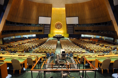 united nations: NEW YORK CITY, NY, USA - MAR 30: The General Assembly Hall is the largest room in the United Nations with seating capacity for over 1,800 people. March 30, 2011 in Manhattan, New York City.