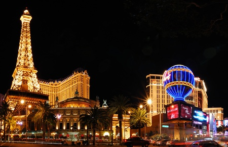 Las Vegas, Nevada - March 4, Las Vegas Paris and Bellagio Hotel Casino panorama over lake with Eiffel Tower on strip, March 4, 2010 in Las Vegas, Nevada.
