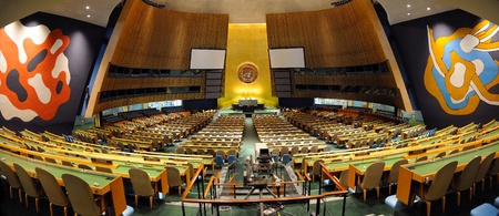 NEW YORK CITY, NY, USA - MAR 30: The General Assembly Hall is the largest room in the United Nations with seating capacity for over 1,800 people. March 30, 2011 in Manhattan, New York City.