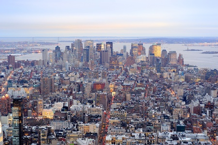 New York City Manhattan downtown aerial view with urban city skyline and skyscrapers buildings. Stock Photo - 9481363