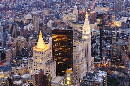 New York City Manhattan downtown aerial view at dusk with urban city skyline and skyscrapers buildings Stock Photo - 9481526