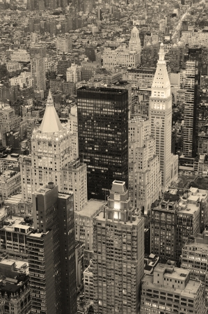 New York City Manhattan downtown aerial view at dusk with urban city skyline and skyscrapers buildings in black and white Banco de Imagens