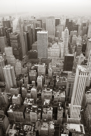 New York City Manhattan skyline aerial view black and white with skyscrapers and street. Stock Photo - 9480920
