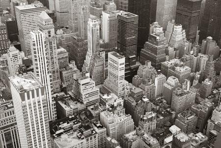 Manhattan New York City skyline veduta aerea bianco e nero con grattacieli e street. Archivio Fotografico - 9480685