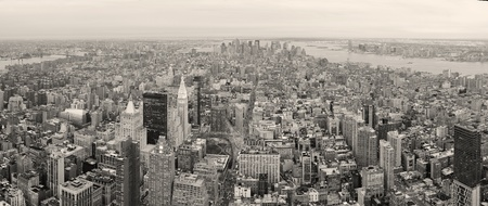 New York City Manhattan downtown aerial view with urban city skyline and skyscrapers buildings in black and white. photo