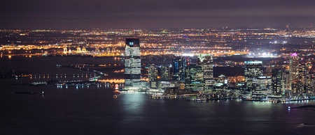 New Jersey panorama night view from New York City Manhattan with Hudson River and skyscrapers. Stock Photo