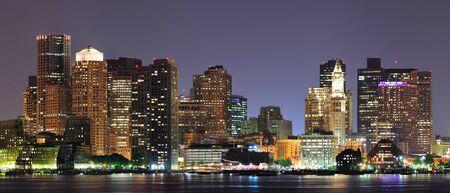 Urban city night scene panorama from Boston Massachusetts. Stock Photo