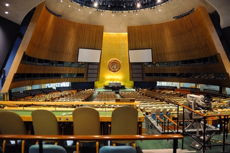 NEW YORK CITY, NY, USA - MAR 30: The General Assembly Hall is the largest room in the United Nations with seating capacity for over 1,800 people. March 30, 2011 in Manhattan, New York City. Stock Photo - 9891522