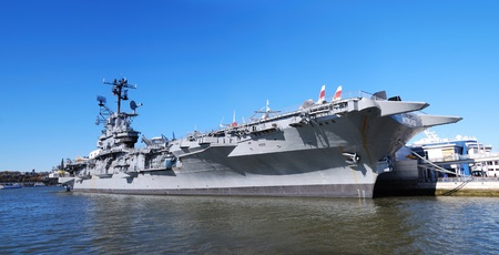 NEW YORK CITY, NY - NOV 2: USS Intrepid (CVCVACVS-11) is one of 24 Essex-class aircraft carriers built during World War II for the United States Navy, November 2, 2010 in Manhattan, New York City.