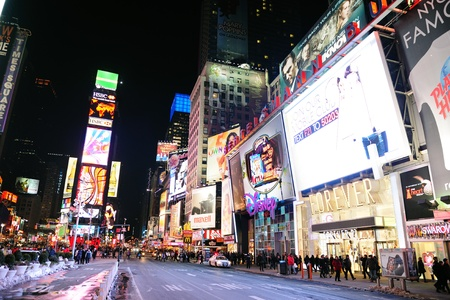 NEW YORK CITY, NY - JAN 30: Times Square is featured with Broadway Theaters and LED signs as a symbol of New York City and the United States. January 30, 2011 in Manhattan, New York City.  Stock Photo - 10404952