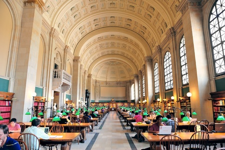 BOSTON, MA - JUN 20: Boston Library interior on June 20, 2011 in Boston, Massachusetts. The Boston Public Library is the first publicly supported municipal library in US with collection of 8.9 million books.