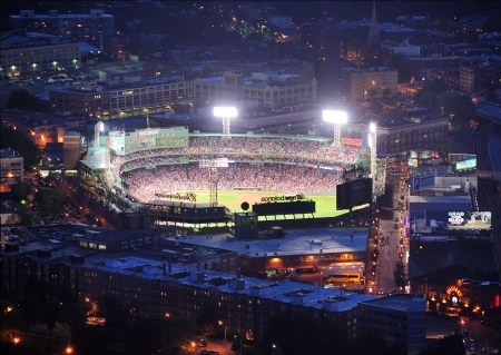 ballpark: BOSTON, MA - JUN 20: Fenway Park at night on June 20, 2011 in Boston, Massachusetts. Fenway Park has served as the home ballpark of the Boston Red Sox baseball club since 1912, and is the oldest Baseball stadium. Editorial