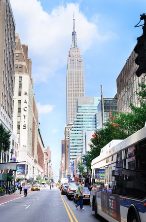 NEW YORK CITY, NY - JUN 21: Empire State Building with street on June 21, 2011 in Manhattan, New York City. The Empire State Building is a 102-story landmark skyscraper and was the world's tallest building for more than 40 years.  Stock Photo - 10404951