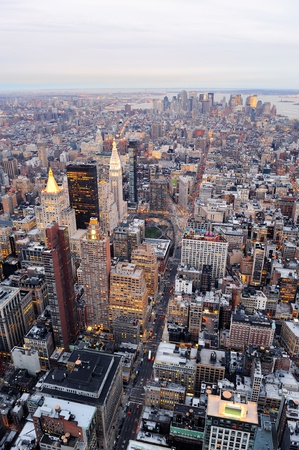 skyscraper: New York City Manhattan downtown aerial view with urban city skyline and skyscrapers buildings.