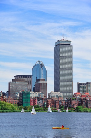 prudential: Boston city skyline with Prudential Tower and urban skyscrapers over Charles River.