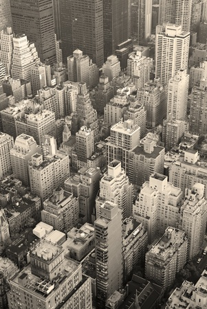 New York City Manhattan skyline aerial view black and white with skyscrapers and street. Stock Photo - 10418873