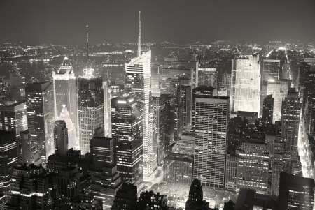 New York City Manhattan Times Square skyline aerial view panorama black and white with skyscrapers and street. Stock Photo - 10418689