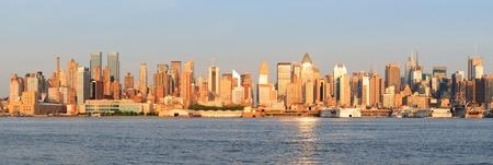 New York City Manhattan midtown skyline panorama at sunset. photo