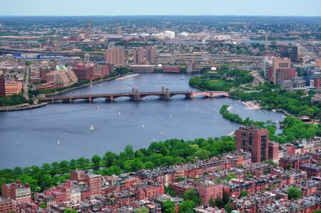 boston cityscape: Boston Charles River aerial view with buildings and bridge.