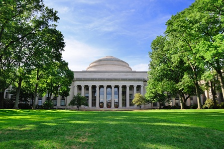 Boston Massachusetts Institute of Technology campus with trees and lawn photo