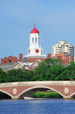 john: John W. Weeks Bridge and clock tower over Charles River in Harvard University campus in Boston with trees and blue sky.