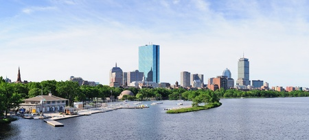 esplanade: Boston back bay panorama with sailing boat and urban building city skyline in the morning.  Stock Photo