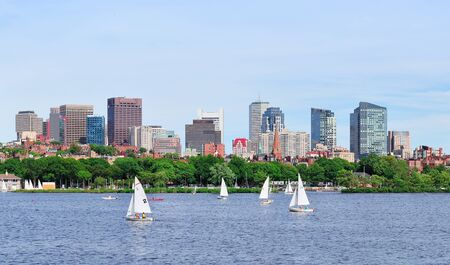 charles: Boston Charles River panorama with urban skyline skyscrapers and sailing boat. Stock Photo