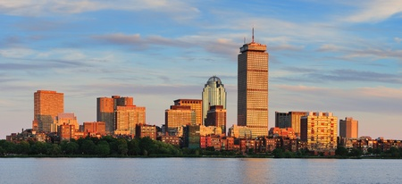 boston skyline: Boston city skyline panorama with Prudential Tower and urban skyscrapers over Charles River.