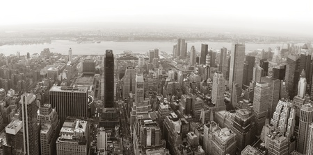 old new york: New York City Manhattan skyline aerial view panorama black and white with skyscrapers and street. Stock Photo