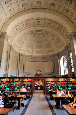 BOSTON, MA - JUN 20: Boston Library interior on June 20, 2011 in Boston, Massachusetts. The Boston Public Library is the first publicly supported municipal library in US with collection of 8.9 million books. Stock Photo - 10582079