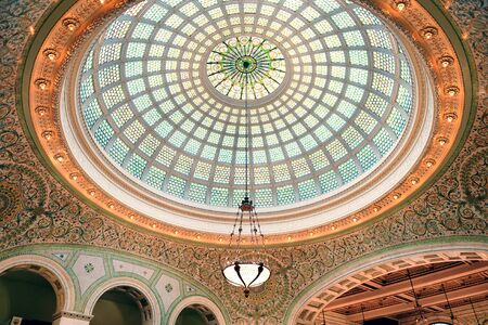 Chicago Cultural Center interior view with dome and lamp