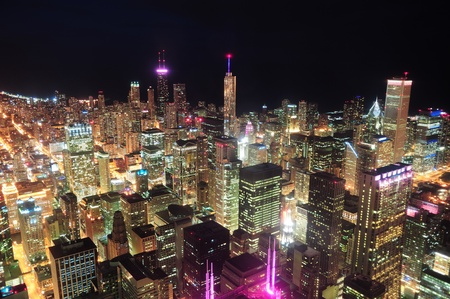 michigan: Chicago downtown aerial view at night with skyscrapers and city skyline at Michigan lakefront.  Stock Photo