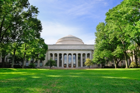 mit: Boston Massachusetts Institute of Technology campus with trees and lawn Editorial