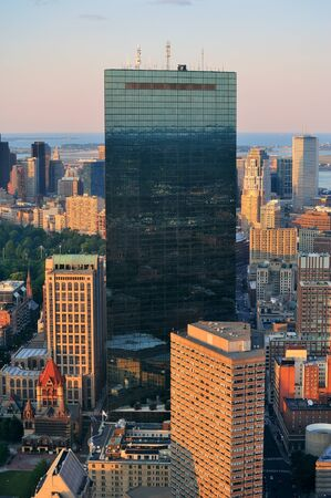 Urban city aerial view. Boston aerial view with skyscrapers at sunset with city downtown skyline. Stock Photo - 11000544