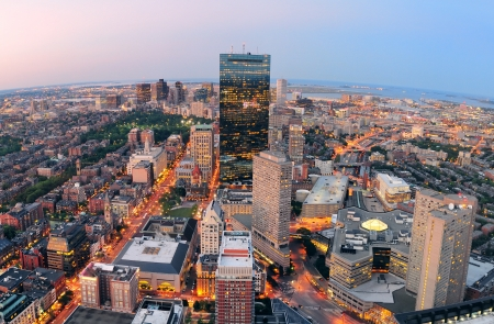 hancock building: Urban city aerial view. Boston aerial view with skyscrapers at sunset with city downtown skyline.