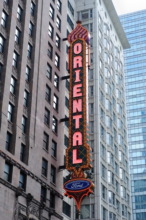 CHICAGO, IL - Oct 6: Oriental Theatre and street on October 6, 2011 in Chicago, Illinois. It is listed on the National Register of Historic Places as the famous landmark of Chicago Theater District.