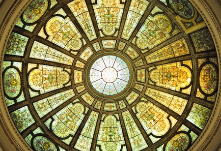 ceiling: Chicago Cultural Center interior view with Healy and Millet stained glass dome in the Grand Army of the Republic rotunda  Editorial