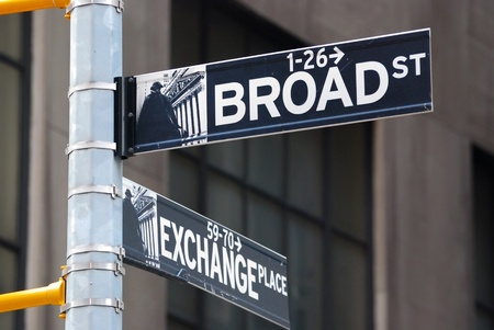 street name sign: Broad street and Exchange Place in New York City