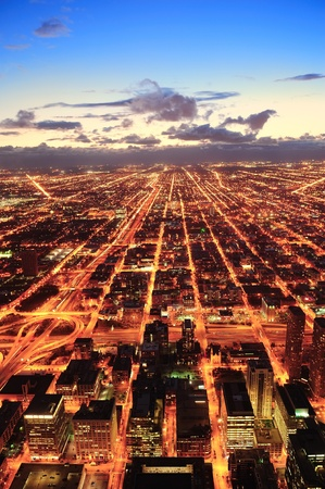 Chicago downtown aerial panorama view at dusk with skyscrapers and city skyline. Stock Photo - 11565728