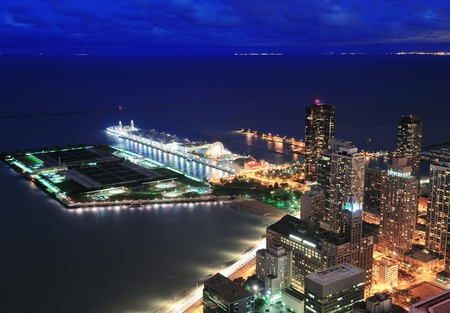 navy pier: Chicago Navy Pier aerial view with Lake Michigan at dusk. Editorial