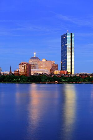 hancock building: Boston Charles River at dusk with urban city skyline and light reflection Editorial